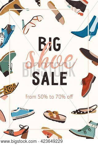 Modern Design Of Flyer With Stylish Spring, Autumn And Summer Shoe Sale Announcement. Vertical Banne