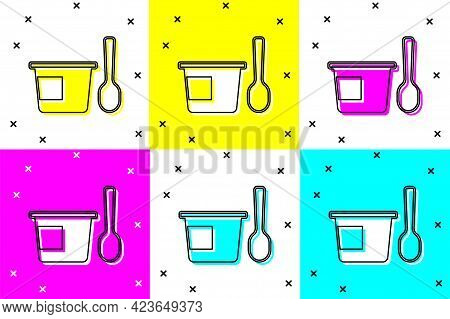 Set Yogurt Container With Spoon Icon Isolated On Color Background. Yogurt In Plastic Cup. Vector