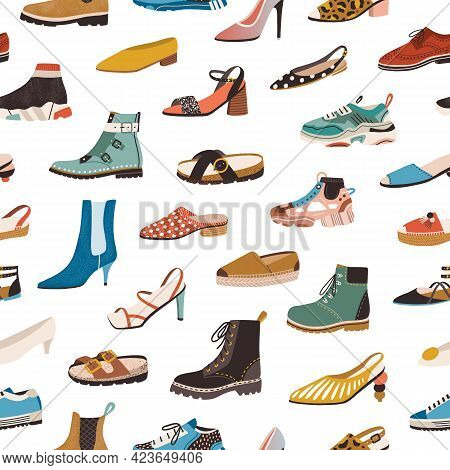 Seamless Pattern With Various Types Of Modern Trendy Women Footwear On White Background. Endless Rep