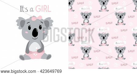 Hand Drawn Baby Girl Koala In Diapers. Childish Seamless Pattern With Koala Character. Pink Colors.