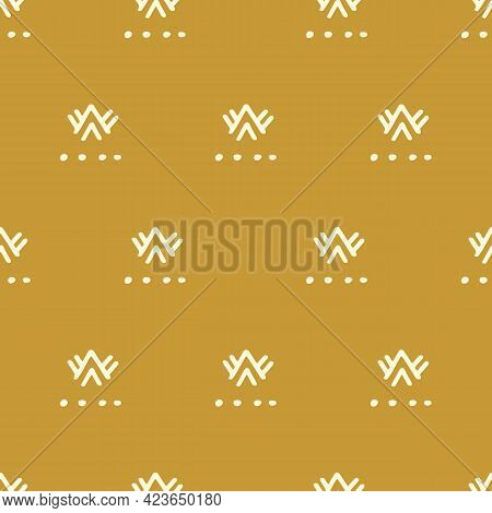 Ethnic Gold Seamless Pattern, African Tribal Endless Ornament Background