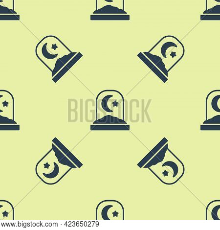 Blue Muslim Cemetery Icon Isolated Seamless Pattern On Yellow Background. Islamic Gravestone. Vector