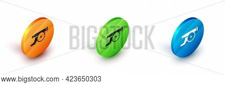Isometric Ramadan Cannon Icon Isolated On White Background. Circle Button. Vector