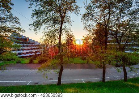 A beautiful sunset  in Ustron, Silesian Beskids. Poland