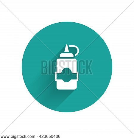 White Sauce Bottle Icon Isolated With Long Shadow Background. Ketchup, Mustard And Mayonnaise Bottle