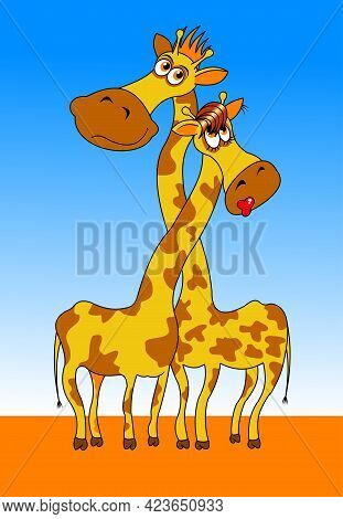 Two Giraffes Hugging With Long Necks, Vector And Illustration