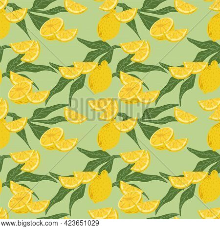 Vector Background Of Citrus Fruits. Lemon Pattern With Leaves. Cute Citrus Textiles Made From A Citr