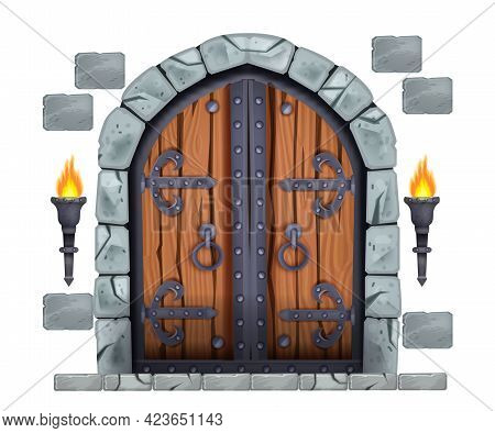 Castle Wooden Gate, Medieval Vector Double Door, Stone Arch, Fire Torch, Bricks Isolated On White. A