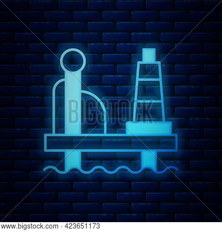 Glowing Neon Oil Platform In The Sea Icon Isolated On Brick Wall Background. Drilling Rig At Sea. Oi