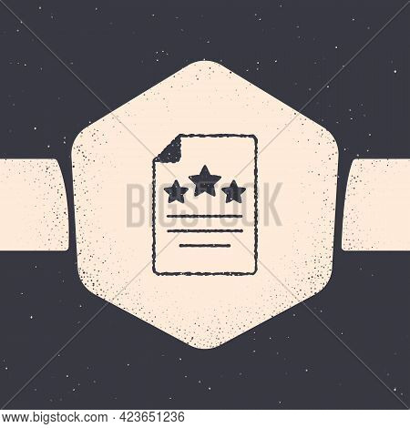 Grunge Declaration Of Independence Icon Isolated On Grey Background. Monochrome Vintage Drawing. Vec