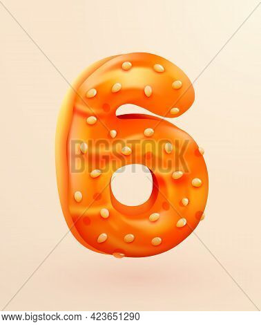 Glazed Donut Font. Number 6. Number Six Cake. Dessert Style. Collection Of Tasty Bakery Numbers With