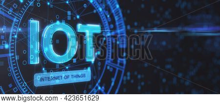 Iot Internet Of Things Concept. Iot Word On Abstract Blue Background With Mock Up Layout. 3d Renderi