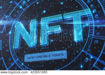 Nonfungible Tokens Concept With Digital Glowing Nft Icon On Abstract Dark Background. 3d Rendering