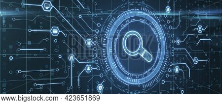 Perspective View On Digital Glowing Magnifier In Technological Circle Surrounded By Microcircuit Lin
