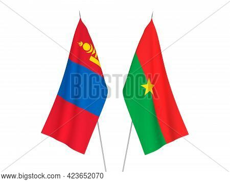 National Fabric Flags Of Mongolia And Burkina Faso Isolated On White Background. 3d Rendering Illust