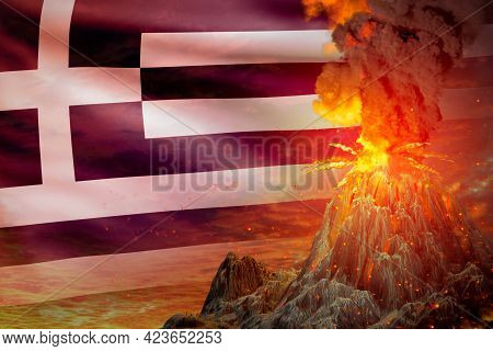 Conical Volcano Blast Eruption At Night With Explosion On Greece Flag Background, Suffer From Disast