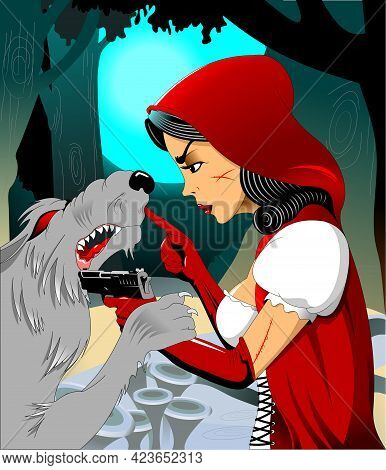 A Girl In A Red Cloak Met A Terrible Wolf In The Forest