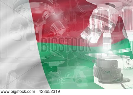 Madagascar Science Development Conceptual Background - Microscope On Flag. Research In Microbiology