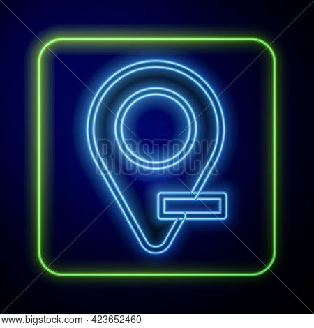Glowing Neon Map Pin Icon Isolated On Blue Background. Navigation, Pointer, Location, Map, Gps, Dire