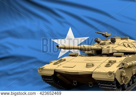 Somalia Modern Tank With Not Real Design On The Flag Background - Tank Army Forces Concept, Military