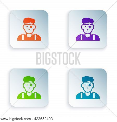 Color Jeweler Man Icon Isolated On White Background. Set Colorful Icons In Square Buttons. Vector