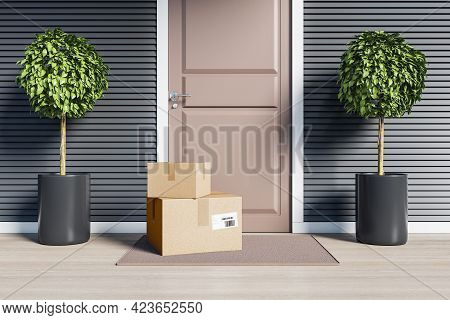 Delivery Service Concept With Two Cardboard Boxes Near The Door Entrance Outdoor. 3d Rendering