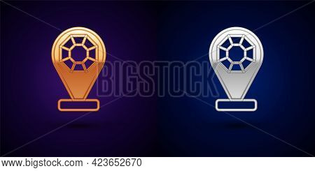 Gold And Silver Front Facade Building Jewelry Store Icon Isolated On Black Background. Vector