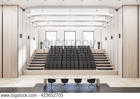 Contemporary Wooden Auditorium Interior With Seatings, City View And Daylight. 3d Rendering