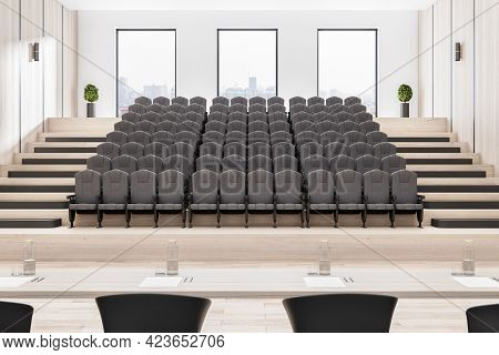 Bright Wooden Auditorium Interior With Seatings, City View And Daylight. 3d Rendering