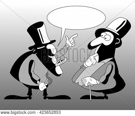 Conversation Of Two Rich Businessmen In Tuxedos, Illustration