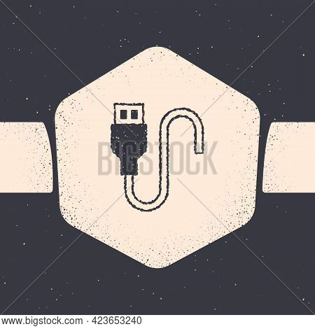 Grunge Usb Cable Cord Icon Isolated On Grey Background. Connectors And Sockets For Pc And Mobile Dev