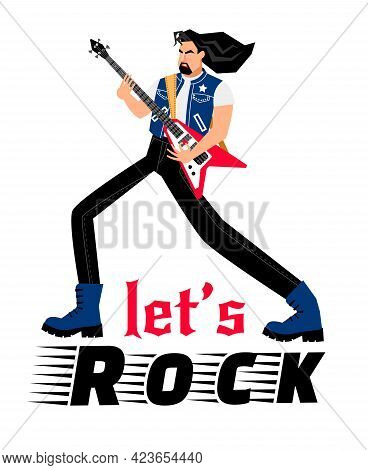Rock Singer. Cartoon Adult Man Play Rock Music On Electric Guitar, Concept Of Creative Performance O