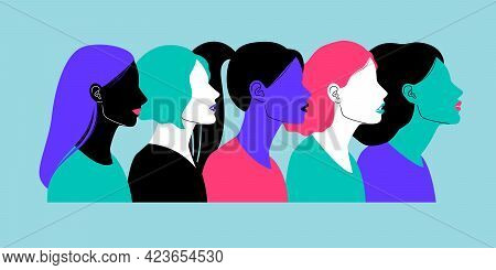 Colorful Profiles Of Face Silhouettes. Cartoon Portrait Of Women, Heads Of Females With Different Ha