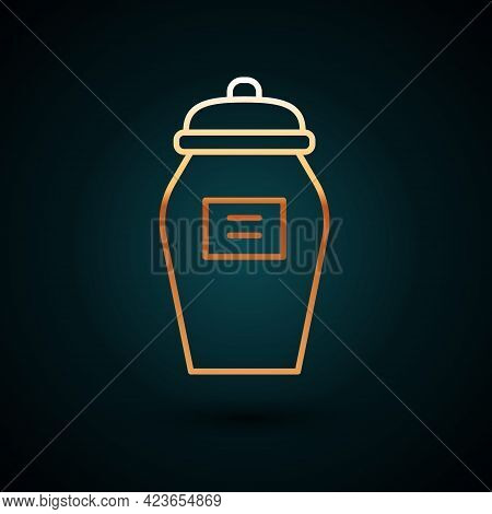 Gold Line Funeral Urn Icon Isolated On Dark Blue Background. Cremation And Burial Containers, Columb