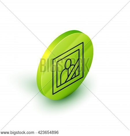 Isometric Line Mourning Photo Frame With Black Ribbon Icon Isolated On White Background. Funeral Cer