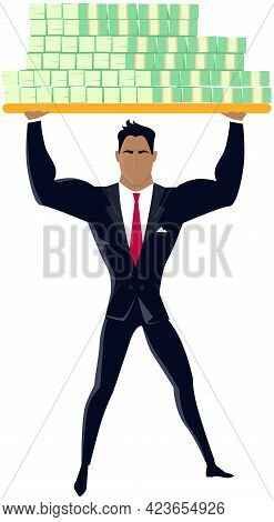 Strong Businessman Lifts Up Heavy Dollar Banknotes. Business Financial Strength Concept. Metaphor Fo