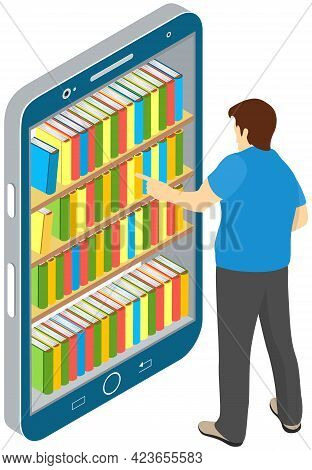 Electronic Online Library On Smartphone. Distance Education With Modern Technology Application In Ph