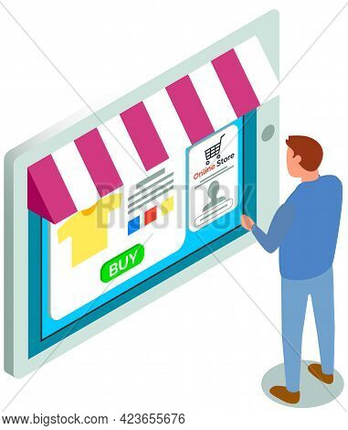 Shopping With Special Store Application. Man Is Using Tablet With App For Buying And Ordering Clothe