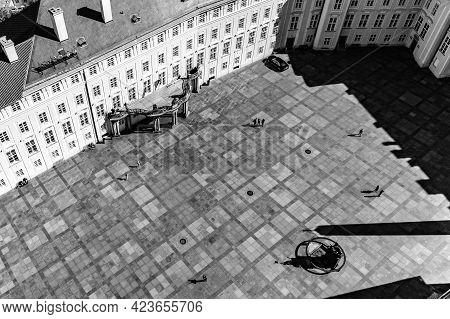 Aerial View Of Third Courtyard Of Prague Castle, Czech: Prazsky Hrad. Hradcany, Czech Republic Black