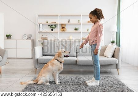 Happy Black Girl Giving A Treat To Her Obedient Dog