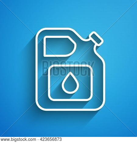 White Line Canister For Gasoline Icon Isolated On Blue Background. Diesel Gas Icon. Long Shadow. Vec