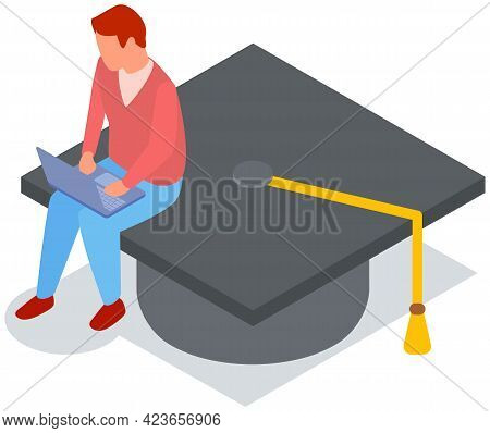 Student Graduates From University. Man Is Sitting On Academic Cap And Working On Laptop. Male Charac