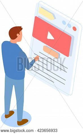 Video Player On Phone Near Man Presses Buttons, Presentation Board. Mobile Device For Watching Digit