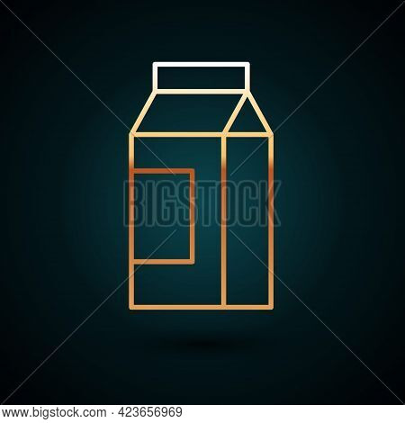 Gold Line Paper Package For Milk Icon Isolated On Dark Blue Background. Milk Packet Sign. Vector