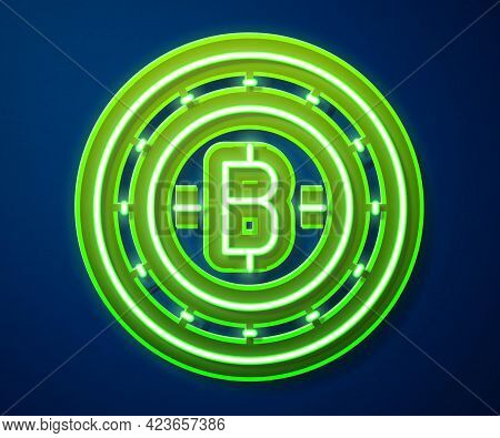 Glowing Neon Line Cryptocurrency Coin Bitcoin Icon Isolated On Blue Background. Physical Bit Coin. B