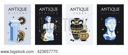 Antique Statues Set Of Four Vertical Posters With Pieces Of Ancient Monuments Sculptures With Editab