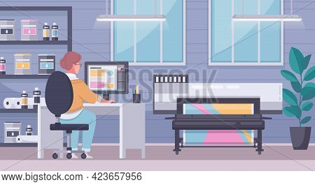 Printing House Polygraphy Cartoon Composition Operator Sits At Computer Sends To Print And Controls