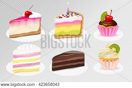Cake Cheesecake Pieces And Cupcakes Realistic Set With Kiwi Cherry Vanilla Extracts Chocolate Frosti