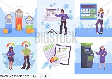 Bank Service Flat Compositions Set With Credit Score Calculator Online Loan Application Automatic Te