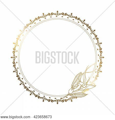 Round Gold Frame With Flower And Pattern. White Background. Place For Your Text. Floral Vector Illus